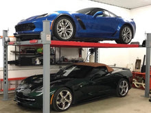 Pair of Corvettes safely and conveniently stored on the heavy duty 4-post lift