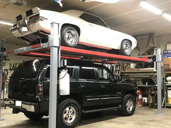 Rear-view of 9,000 Pound Extra Long and Tall auto lift from Advantage