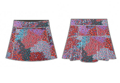 Sequined Peacock Skort (Black/Red/Hot Pink/Blue)