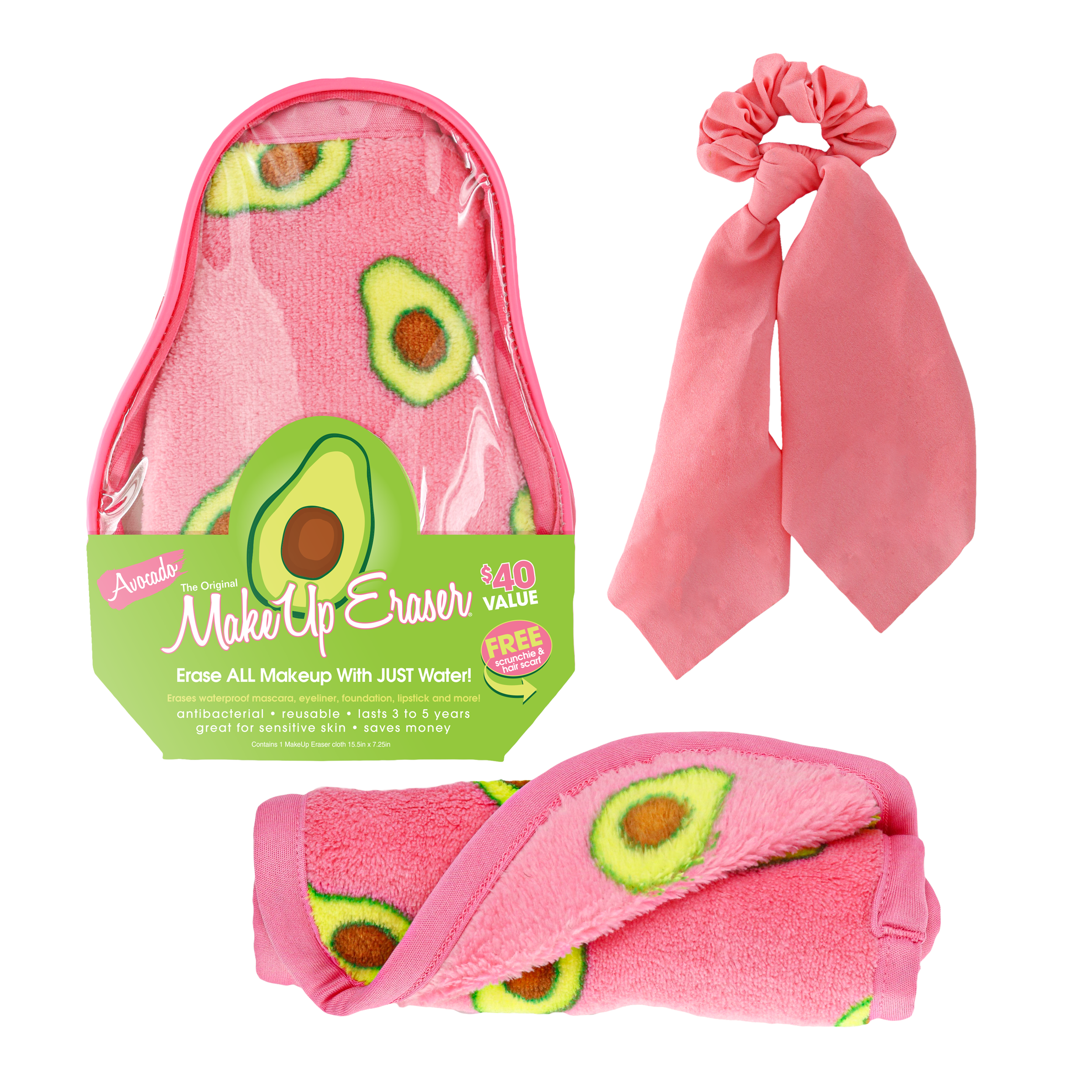 1 full size Avocado Print MakeUp Eraser, 1 scrunchie with detachable hair scarf and 1 reusable makeup bag