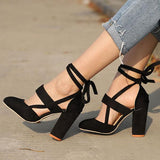 Ankle Strap High Heels With Flock Cross Straps - eStarkShop Buy electronics, fashion apparel, collectibles, sporting goods, and everything else on eStarkShop, the world's online marketplace.