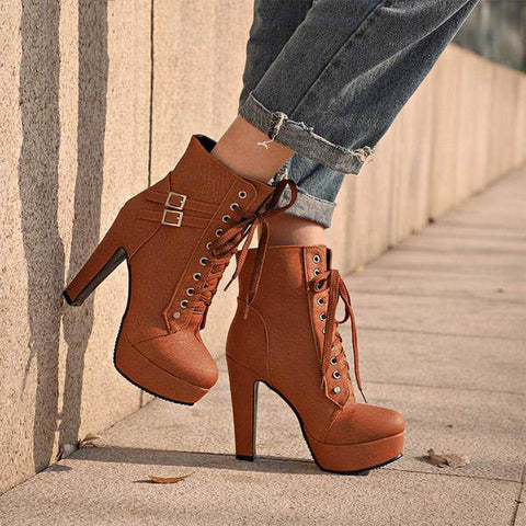 Ankle Boots Lace Up High Heels - eStarkShop Buy electronics, fashion apparel, collectibles, sporting goods, and everything else on eStarkShop, the world's online marketplace.