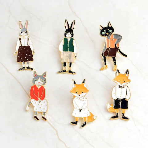 Cat/Rabbit/Fox Couple Enamel Pin Badges - eStarkShop Buy electronics, fashion apparel, collectibles, sporting goods, and everything else on eStarkShop, the world's online marketplace.