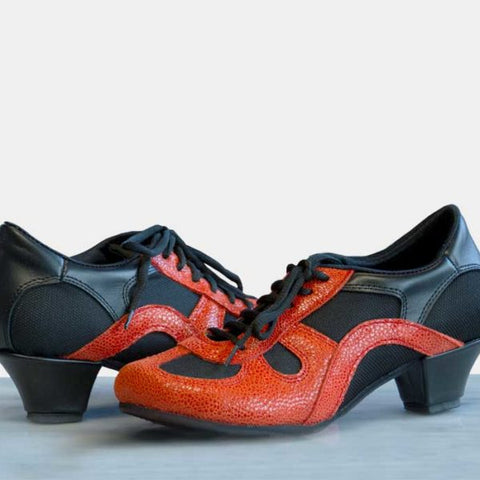 Black and Blood Orange DNI Rocio Tango Shoe 8526