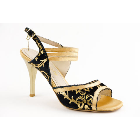 """Turquoise"" Velvet Gold Patterned Tango Shoe"
