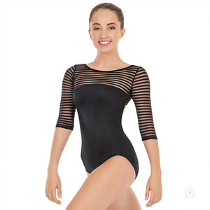 Eurotard Striped Mesh 3/4 Sleeve Leotard