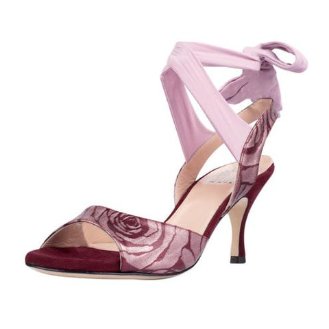 Sur- Paloma Nappa Bordo con Rose (Regular to Wide)