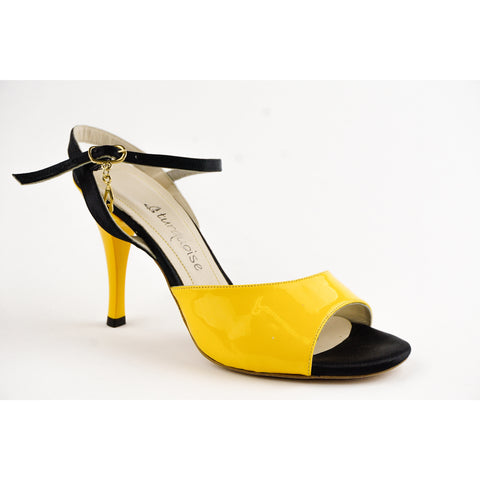 """Turquoise"" Patent Leather Yellow Tango Shoe"