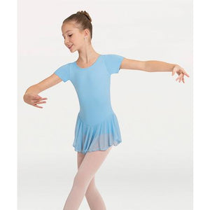 Body Wrappers Children's Short Sleeve Chiffon Skirted Leotard