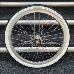 Diamond Back Raleigh Wheels with fitted Raleigh Whitewall Tyres and Freewheel Pair