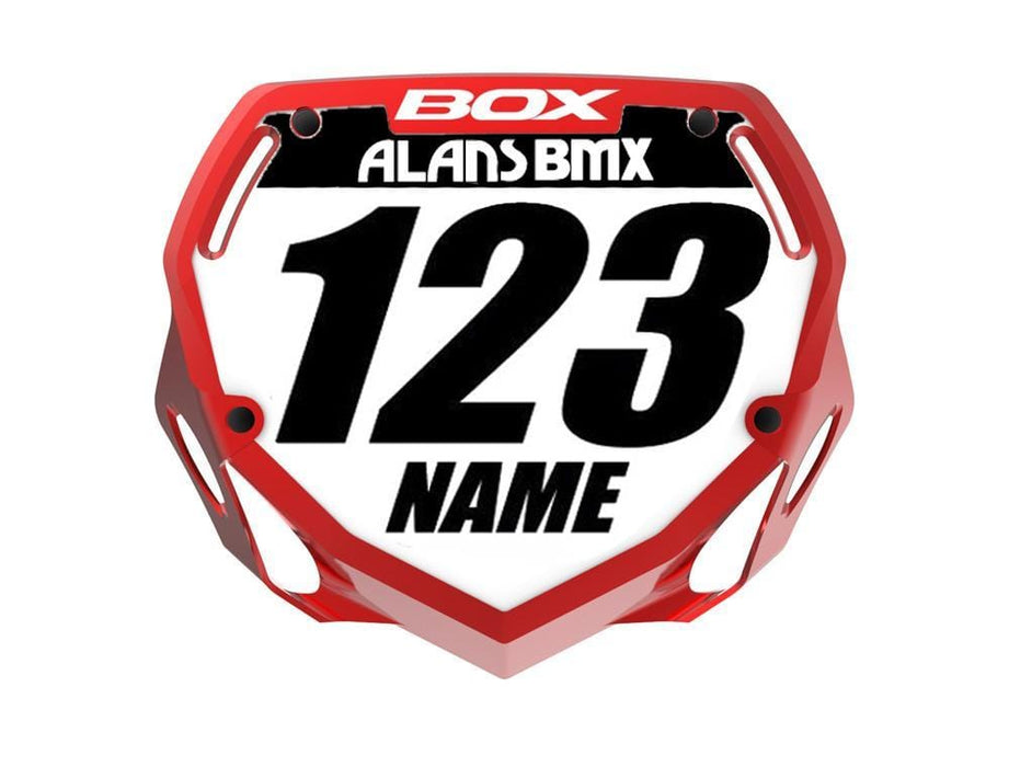 Box BMX Racing Box Phase 1 Chrome Number Plate with Name and Number