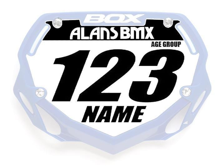 Alans BMX BMX Racing Box Phase 1 Custom Name and Number WITHOUT Number Plate