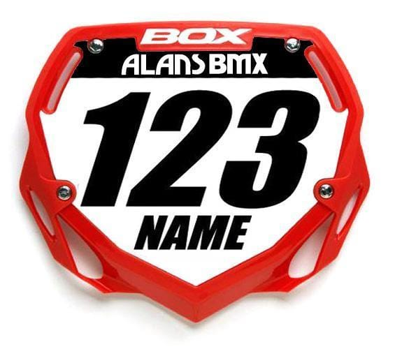 Box BMX Racing Box Phase 1 Number Plate Large WITH NAME AND NUMBER
