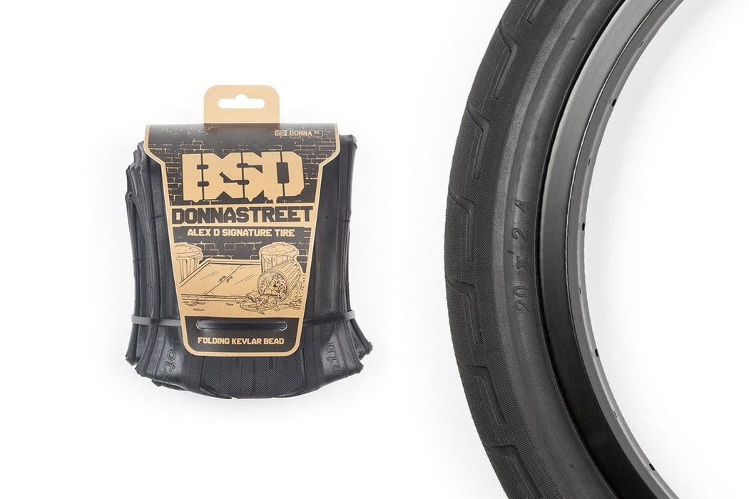 "2.4&Prime; &ndash; 670g</p> <div> &nbsp;</div> "" BMX Parts BSD Donnastreet Folding Tyre Black"