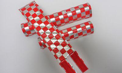 Flite Old School BMX Red / Chrome Flite Old School BMX 3 Piece Pad Set Anodised Checkers