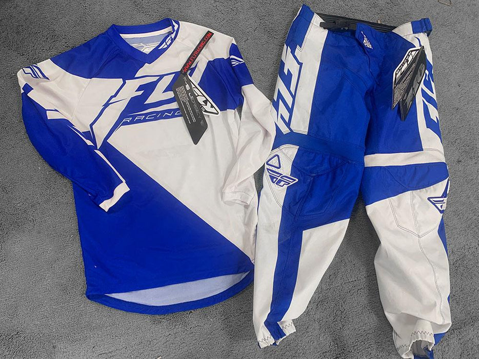 "Fly Racing BMX Racing Fly Racing F-16 Youth Race Gear Blue/White 26"" Pants / Large Jersey"