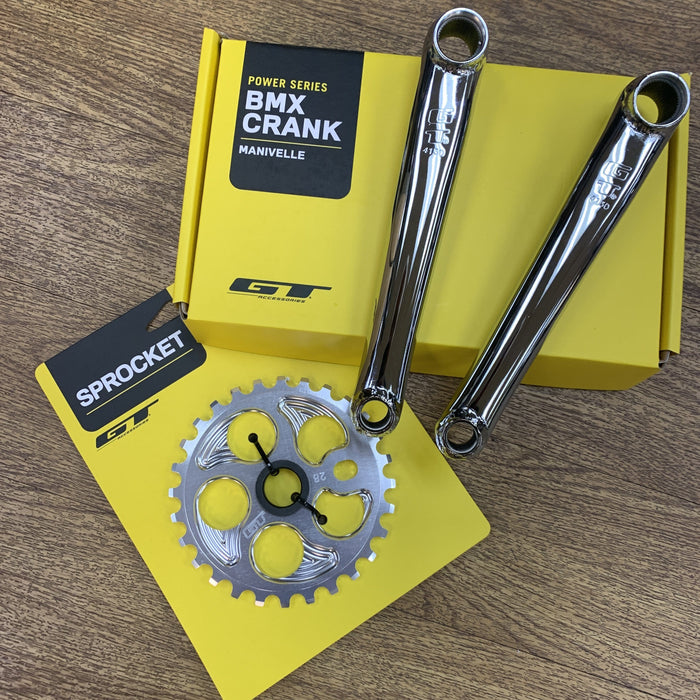 GT BMX Parts GT Power Series Cromo Cranks Chrome with 28T Overdrive Sprocket