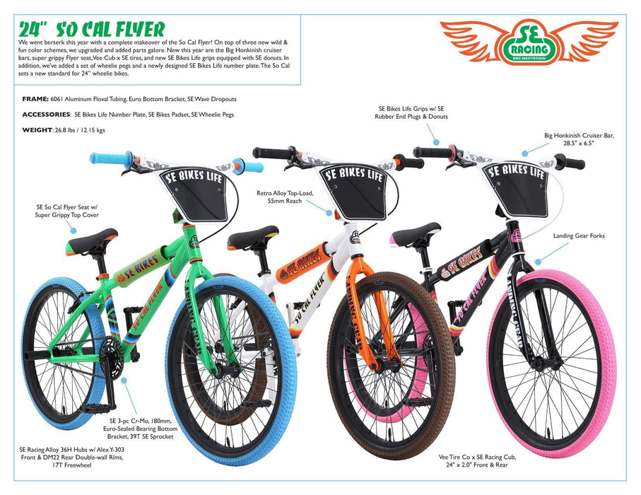 SE Bikes BMX Bikes SE Bikes 2019 So Cal Flyer 24 Inch Bike Green/Blue/Orange