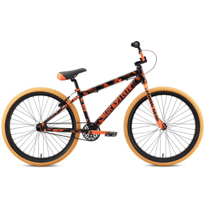 SE Bikes BMX Bikes SE Bikes 2021 Blocks Flyer 26 Inch Bike Orange Camo