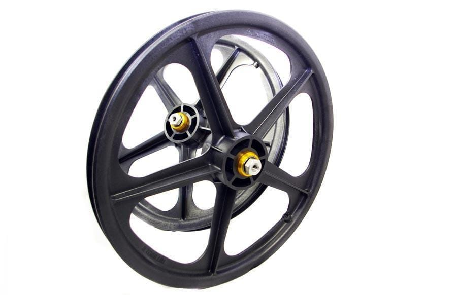 Skyway Old School BMX Skyway Graphite Tuff Mag Wheels 20 Inch with Fitted Freewheel