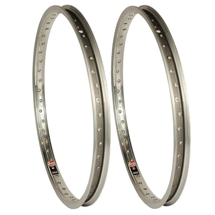 Sun BMX Parts Sun 7X Style Rims with Eyelets 48H Silver Pair