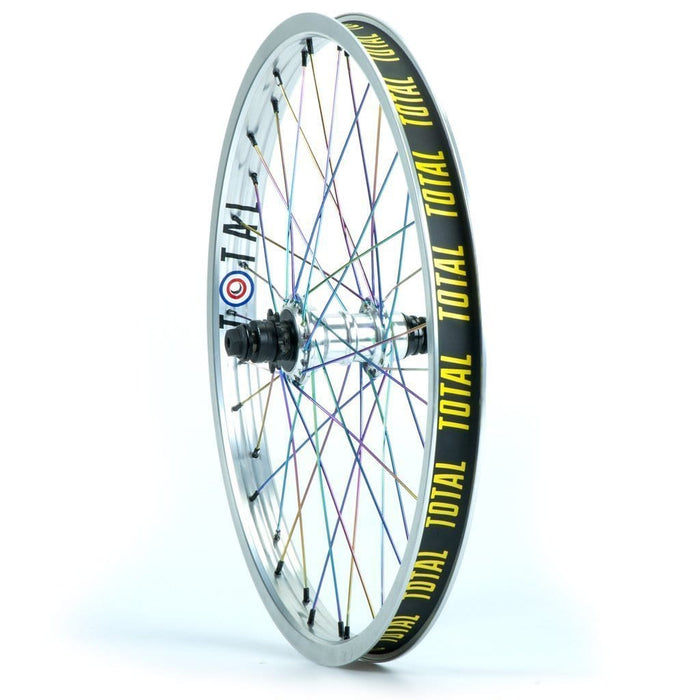 Total BMX BMX Parts Total BMX Techfire Cassette Rear Wheel Silver With Rainbow Spokes