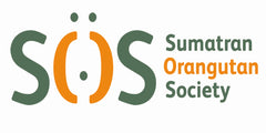 Sumatran Orangutan Society logo in orange & green.
