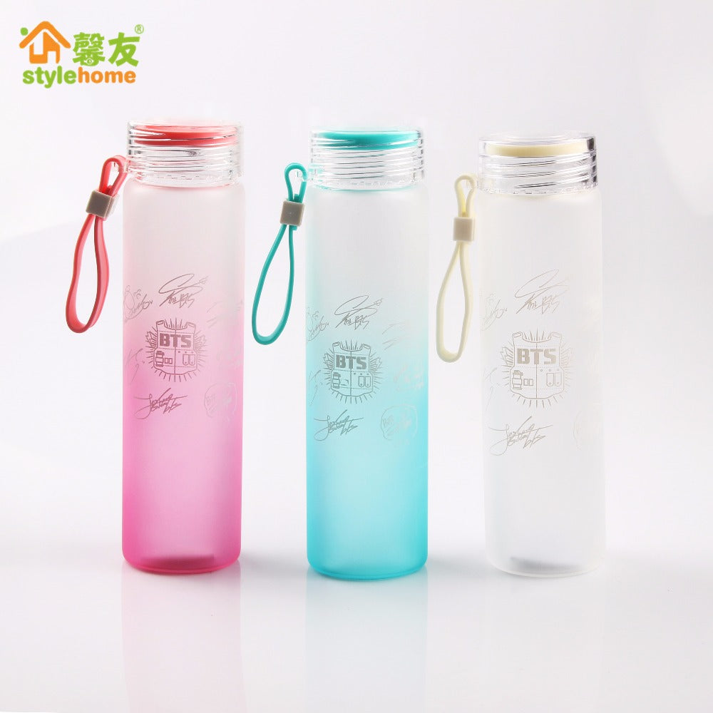BTS Bangtan Boys Group OFFICIAL The Same Summer Gradient Frosted Glass Bottle