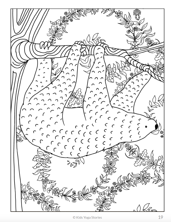 Calming Coloring Pages for Kids - Animals - Kids Yoga Stories