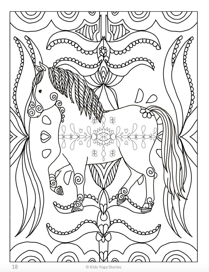 Calming Coloring Pages For Kids Animals Kids Yoga Stories