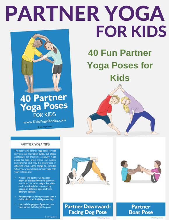 40 Partner Yoga Poses Cards for Kids