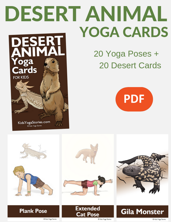 Desert Animal Yoga Cards for Kids