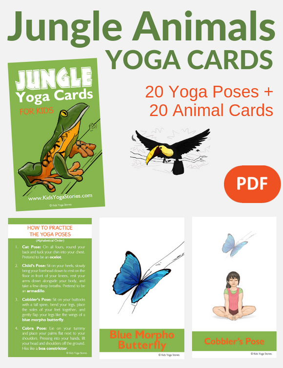 Jungle Animals Yoga Cards for Kids