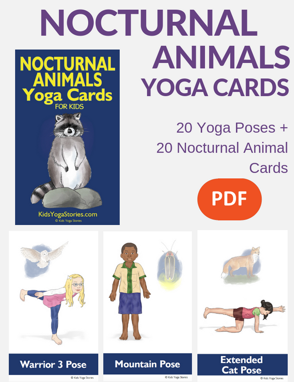 Nocturnal Animals Yoga Cards for Kids