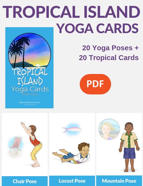 Tropical Island Yoga Cards for Kids