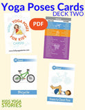 Sample pages or images for yoga poses for kids cards deck two