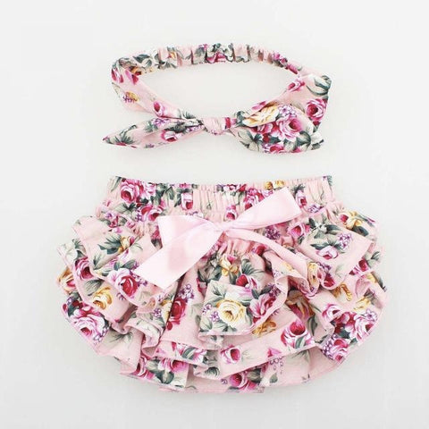 Pretty Pale Pink Floral Baby Bloomers & Headband - Baby Girls (0 - 24 months) www.bluebelleloves.com