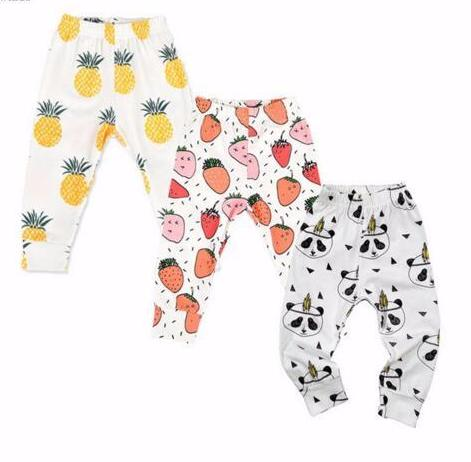 3 Pairs of Baby / Child Leggings (0 - 24 months) Pineapple / Strawberry / Panda