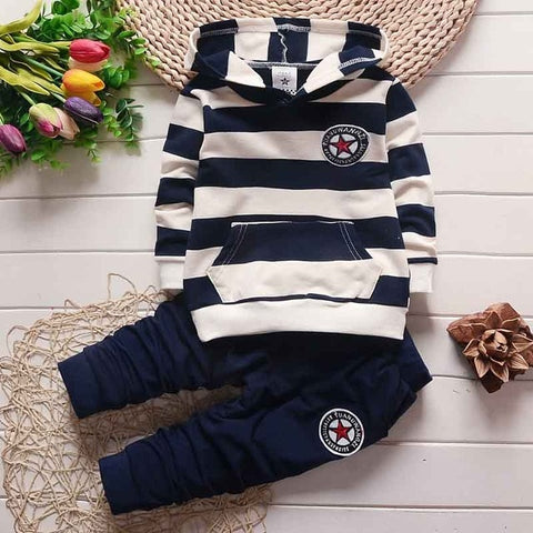 Baby Boys Navy Striped Hooded Outfit Set 2 Piece (7 - 24 months)