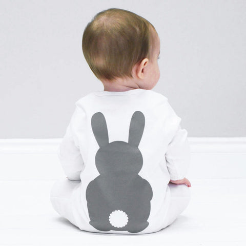 White Bunny Rabbit Back Sleepsuit (0 - 18 months) www.bluebelleloves.com