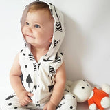 Black & White Hooded Sleeveless Romper (3 - 24 months) www.bluebelleloves.com