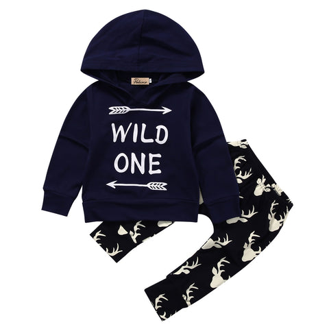Wild One Hoodie Sweatshirt & Deer Trousers For Baby & Toddlers (0 - 18 months) www.bluebelleloves.com