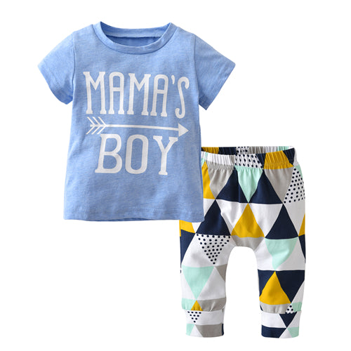 Mama's Boy Summer Baby Boy Outfit www.bluebelleloves.com