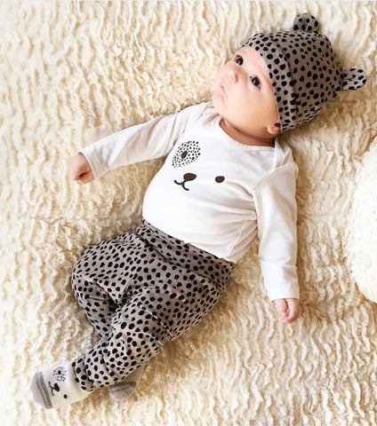 Leopard Baby Girl Outfit Set with Hat www.bluebelleloves.com