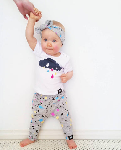 Raindrops 3 Piece Outfit Set (T Shirt, Trousers & Headband) 0 - 24 Months www.bluebelleloves.com