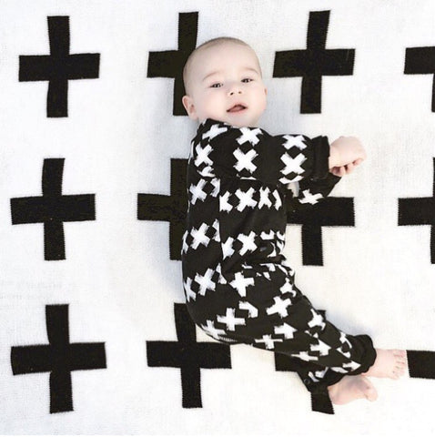 Black And White Cross Long Sleeve Baby Grow Romper Unisex - www.bluebelleloves.com