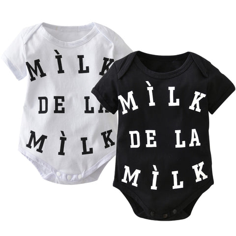 MILK DE LA MILK Short Sleeve Baby Vest Black & White www.bluebelleloves.com