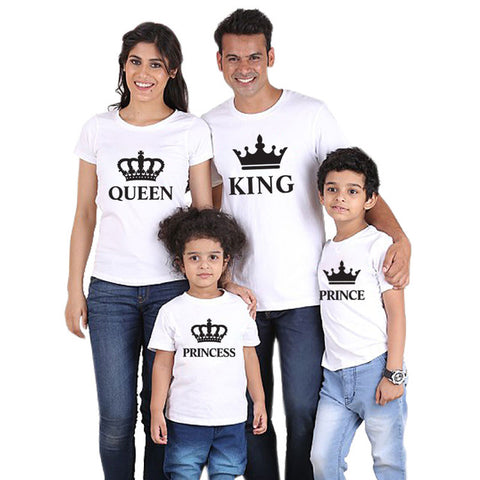 Whole Family Matching T Shirts, KING, QUEEN, PRINCE, PRINCESS (White & Black)