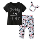 Daddy Is My Hero 3 Piece Outfit Set (T Shirt, Trousers & Headband) 0 - 24 months www.bluebelleloves.com