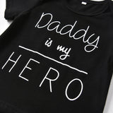 Daddy Is My Hero 3 Piece Outfit Set (T Shirt, Trousers & Headband) 0 - 24 months